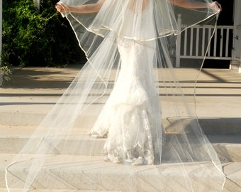 Full Cathedral Wedding Veil - Bridal Veil - Drop Style with Satin Edge and Blusher Layer - Champagne Veil - Blush Veil - Memphis