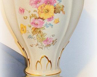 Victorian Vase Vintage Curved Artistic Rim Large Floral Transfers, Gold Trim  PRICE REDUCTION Art  Nouveau