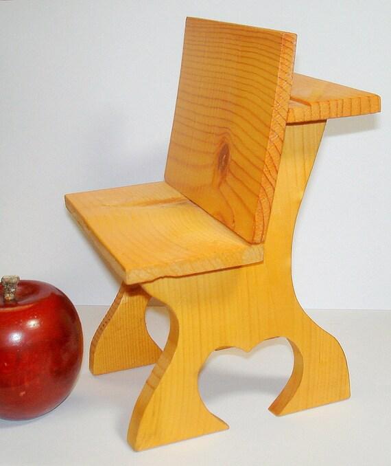Vintage wood school desk toy craft item for dollsteddy