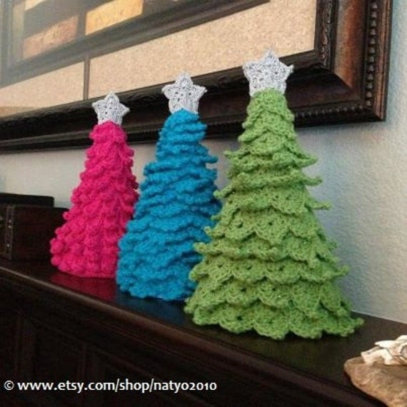 INSTANT DOWNLOAD 3 Crochet Christmas Tree Decoration - 3 Different Designs with Star Pattern - 3 PDF