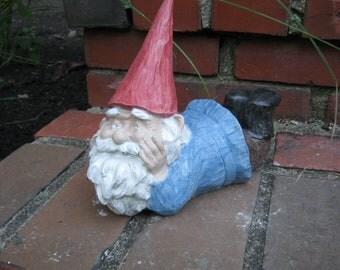 """Garden Gnomes """"Gnubbun"""" Garden Decor, Cement Statue"""