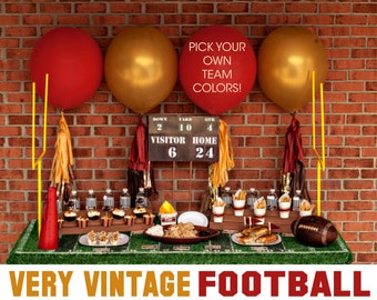 Football Birthday Party - You Pick Team Colors - Printable Decorations - PERSONALIZED SET