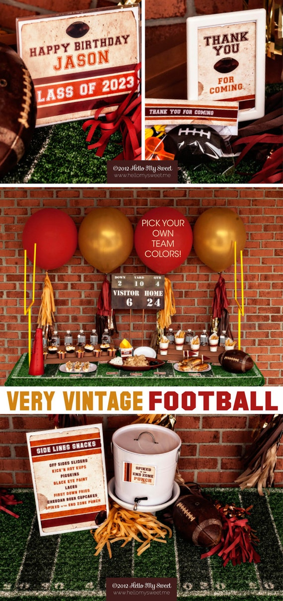 Football Party - Printable Decorations - PERSONALIZED SET with Up to 3 TEAM Colors of your choice