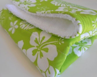 Dish Drying Mat / Dish Mat / Dish Drying Towel in Green Tropical Hawaiian Hibiscus/ Dish Drainer/ Kitchen Towel