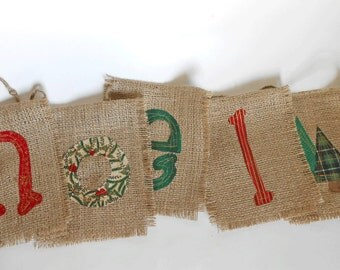 READY to SHIP Noel Burlap Christmas Banner/ Christmas Garland/ Christmas Card Prop/ Holiday Burlap Decoration