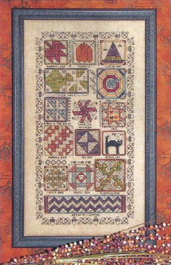 Halloween Quilt Sampler : Rosewood Manor cross stitch pattern & charm hand embroidery