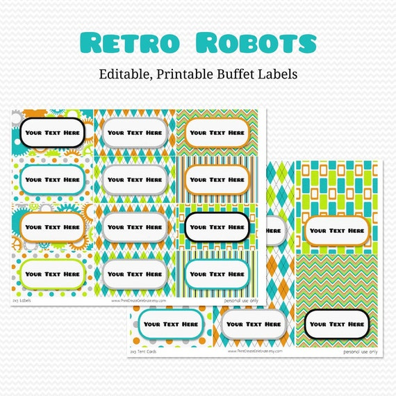 Buffet Labels, Place Cards, Candy Buffet, Retro Robots, Robot Party Decoration -- Editable, Printable, Instant Download