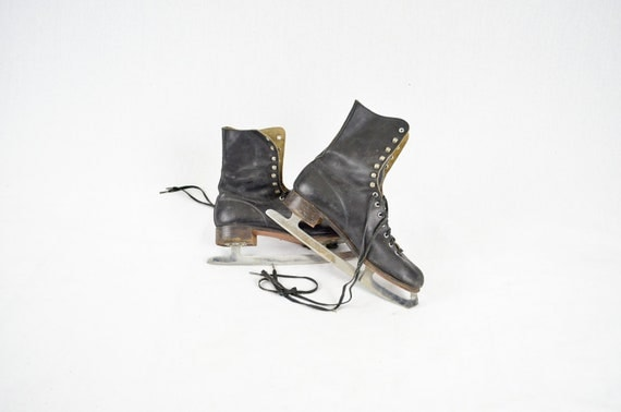 Antique Black Leather Ice Skates