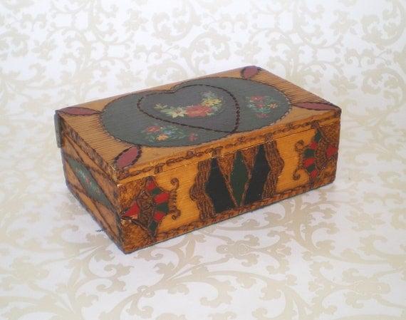 VINTAGE FOLK ART Box - 1930's Through 1950's - Hearts and Flowers, Tramp Art,  Pyrography, BoHo, Trinket Box , Jewelry Box, Gift