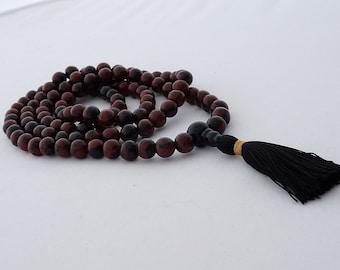 Mala - 8mm mahogany obsidian 108 beads buddhist mala -  prayer necklace - yoga -meditation