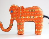 Elephant Nursery Decor or Childrens Elephant Plush, Elephant Toy or Elephant Pillow made from Vintage Material and upcycled sweater