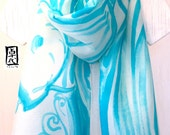 Silk Scarf Handpainted, Gift for her, Christmas Gifts, Silk Scarf Blue, Light Blue and White Retro Japanese Koi Fish Scarf, 14x72 inches,