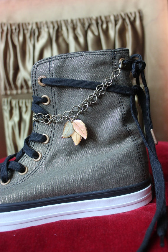 Custom Converse One of a Kind Fall Leaves Removable Ankle Chain Shoes