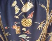 Vintage Mens Hawaiian Aloha Shirt by Kahala - Size Large - Tropical Mixed Drinks Cocktails Pina Coladas Mai Tais - Luau Bar Resort Cruise