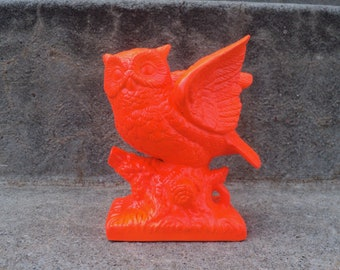 Bright and Shiny Neon Orange Owl Figurine Modern HALLOWEEN