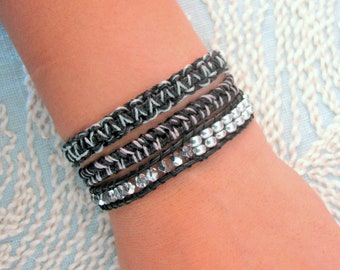 Beaded Wrap Bracelet With Silver Glass Beads and Silver Button Clasp