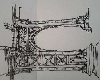 Unfinished drawing of the Manhattan Bridge (JPEG File)asdfa