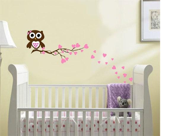 Nursery Owl Branch Wall Decal Boy Girl Baby Hearts By