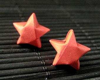 Star Earrings. Red Star Earrings. Origami Star Earrings. Paper Star Earrings. Silver Post Earrings. Stud Earrings. Oragami Jewelry.