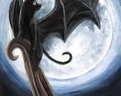Black Cat Art Print, Full Moon Picture, Bat Wings, Halloween Decoration, Goth Decor, Night Sky, Animal Illustration, 5x7 Wall Decor