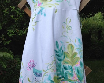 Girls Hand Painted Cotton Sun Dress, Tropical Colors Whimsical Birds, Size 6 Machine Washable, Spring Special 20% Off Sale