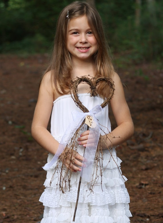Flower Girl Basket Alternative - Heart Wand With Personalized Heart And Sheer Organza Ribbon, Rustic, Cottage Weddings