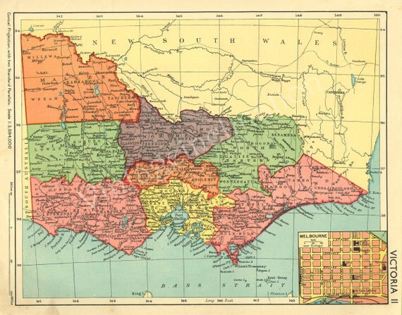 VICTORIA 1932 Melbourne atlas map