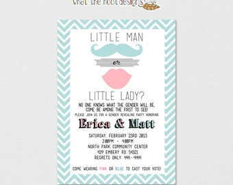 Printable Gender Reveal Party Invitation - Mustache and Lips - Chevron