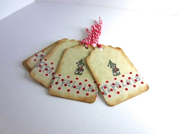 Xmas Tags Holiday Gift Tags Red and Green Elf tags Falalalala