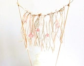 Rustic Wedding Cake Topper Twine and Fabric Flowers Streamer Backdrop