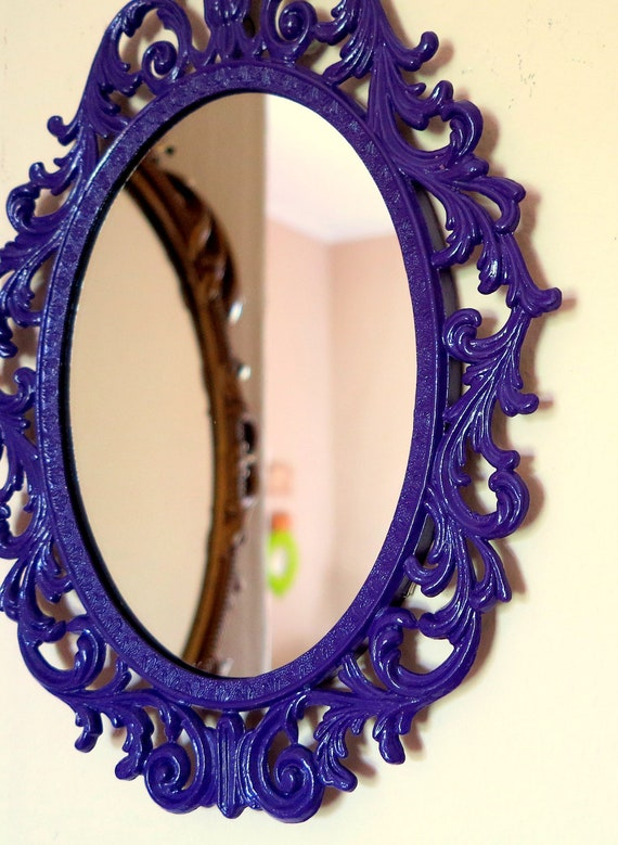 Vintage Imperial Purple Ornate Framed Wall Mirror in Glossy Purple Rococo Frame
