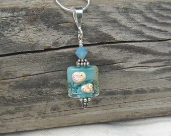 A Little Bit of the Sea Necklace, Aqua, Beachy, Sealife Lampwork, Detailed Sea Urchins with Sand on the Side