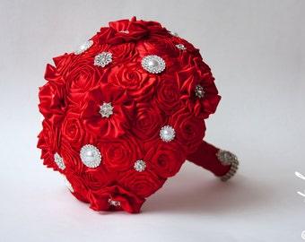Brooch Bouquet. Red Fabric Bouquet, Unique Wedding Bridal Bouquet