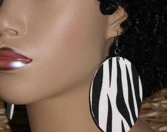 Fabric Covered Wood Earrings -Zebra