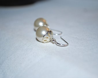 Ivory Pearl Earrings -- Silver, Ivory Pearls, Silver Caps