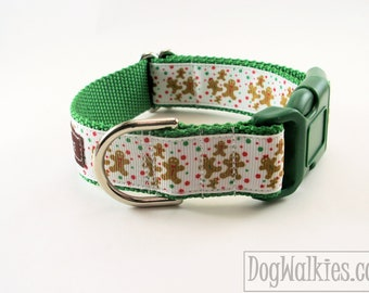 "Gingerbread Family Winter Dog Collar - 1"" (25mm) Wide - Choice of color, style and size - Martingale Dog Collars or Quick Release Buckle"