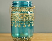 Mason Jar Lantern, Bohemian Teal Glass with Henna Gold Detailing