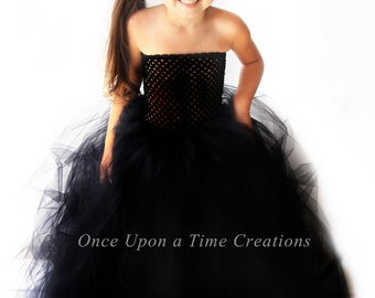 Ready To Ship - Stunning Black Tutu Dress - Flower Girl Pageant Gown - Witch Halloween Costume - Girls Size 12 Months 2t 3t 4t 5 6 7 8 10 12