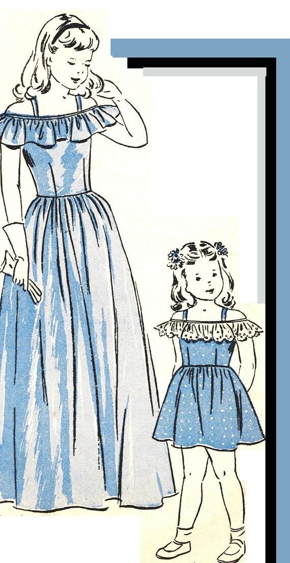 Butterick 4517 Vintage 40s Girls Off Shoulder Sundress - Wedding Bridal Flower Girl Sewing Pattern Size 2 or Size 10