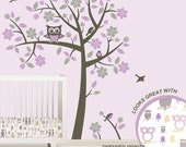 Owl Tree Wall Decals - Owl Nursery Theme - Tree Wall Decals to match Pink Purple Gray Owl Nursery