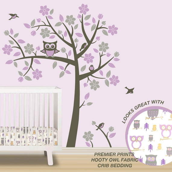 Owl Tree Wall Decals - Owl Nursery Theme - Tree Wall Decals to match Pink  Purple