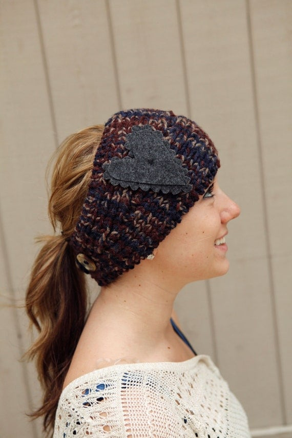 BglorifiedBoutique Knitted Headband in Blue, Brown and Taupe with gray felt heart knitted headband knit headband