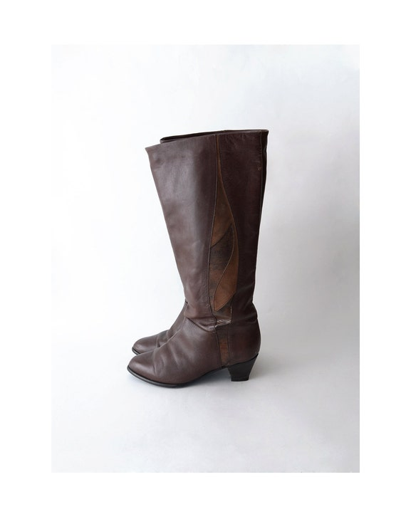 vintage leather boots 80s chocolate brown eu37 by