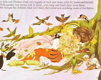 Babes in the Wood - Vintage Illustration Storybook Print - Deans A Book of Fairy Tales - Paper Ephemera