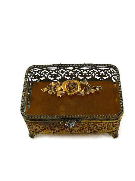 Vintage Rose Filigree Ormolu Beveled Glass Jewelry Casket