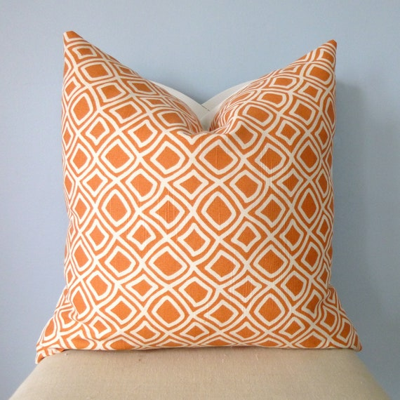 Orange and White Geometric Pattern Decorative Pillow Cover 24 x 24 (RESERVED FOR KELLI)