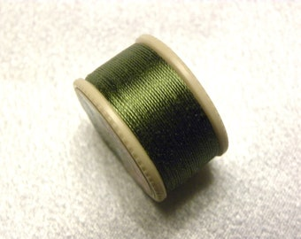 Vintage Coats & Clarks Pure Silk Twist Embroidery Buttonhole Silk Twist Thread Size D  10 Yd. Spool Shade 164-A Moss Green
