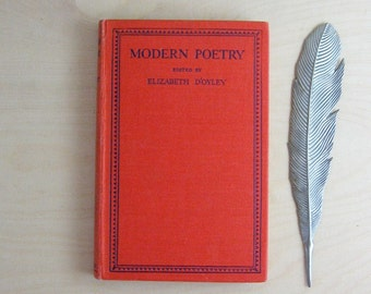 Modern Poetry Book - Vintage Red Book Classic Poetry Collection Elizabeth D'Oyley Red Hardcover Book of Poems Romantic Wedding Something Old