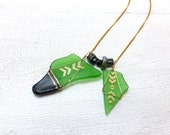 Chevron Sea Glass Pendant - Emerald Green Glass, Hand Painted