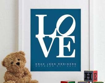 Kids Art Wall Decor Nursery Print LOVE Poster - girl baby boy babies room announcement new mom gift baby shower